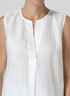 Linen Surplice V-Neck Blouse – Linen Dresses For Women Blouse En Lin, Blouse Col V, V Neck Blouse, Tunic Blouse, Kurta Designs, Blouse Designs, Dress Sewing Patterns, Blouse Patterns, Sewing Clothes Women