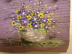 Original miniature floral painting in lavender purple yellow on reclaimed wood, Shabby cottage rustic primitive folk art wall decor