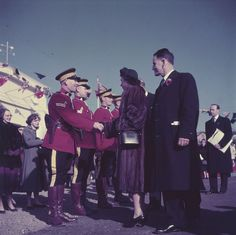 Queen Elizabeth II and Prince Philip greeting RCMP officers while on a trip to Canda, October 1957. Via Chronically Vintage: Exploring the Library and Archives Canada on Flickr. #vintage #Canada #1950s #Royal_Family