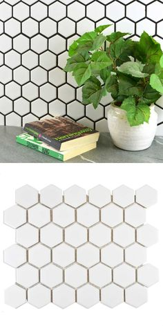 Brighten up a wall or floor space with these Bijou Gloss White Hexagon Mosaic Tiles. Made from porcelain, they come on a mesh backing for easy installation. Hexagon Mosaic Tile, White Mosaic Tiles, Wall And Floor Tiles, Floor Space, Colour Pattern, Pattern Design, Beautiful Eyes, White Bricks, Porcelain