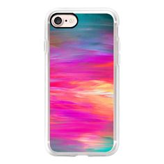 BRIGHT HORIZONS 2- Bold Colorful Rainbow Ombre Stripes Hot Pink... (£32) ❤ liked on Polyvore featuring accessories, tech accessories, iphone case, rainbow iphone case, slim iphone case, apple iphone case, iphone cover case and iphone cases