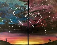Check out Written in the Stars - Partner Painting at The Lower Deck Clayton Park - Paint Nite Couple Painting, Couple Art, Painting For Kids, Diy Painting, Pumpkin Painting, Cavas Painting, Family Painting, Cute Canvas Paintings, Canvas Art