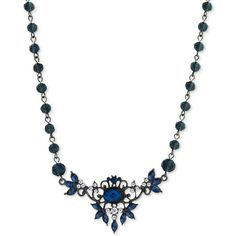 2028 Silver-Tone Blue Crystal Floral Necklace ($38) ❤ liked on Polyvore featuring jewelry, necklaces, silver, blue necklace, crystal pendant, blue pendant necklace, crystal bib statement necklace and blue statement necklace