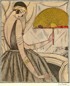 "Art Deco illustration by Georges Lepape, 3/1920, ""L'éventail d'or"", Gazette du Bon Ton."
