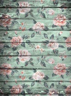 2237 Green Flowers Wood Backdrop