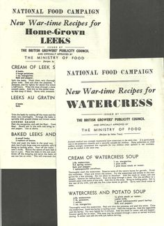 Details about 2 NATIONAL FOOD CAMPAIGN WAR TIME RECIPES LEAFLETS 1940 WATERCRESS…