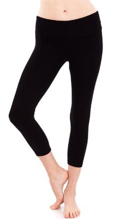 c1f269905c2 Womens Slimming Foldover Capri Crop Yoga Pants Large Black     Check out  this great