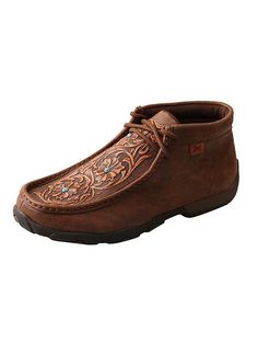 Twisted X® Women's Driving Moccasins – Brown/Tooled Flowers [WDM0081]