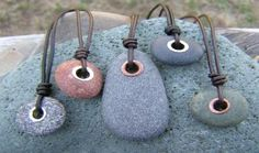 Cape Cod beach stone jewelry by KEM Designs, Lots of cool stone necklaces on this website.