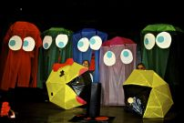 Meet the Cast PAC-MAN Pep Rally (color digital photograph) April 2013 - DIY Umbrellas and $1 store tablecloths
