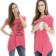 Maternity Breastfeeding Clothes Ice Silk Summer Tees Print Nursing Top/shirts #Bearsland #Blouse #Casual