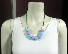 Frozen- Handmade Polymer Clay Beads Necklace (Fimo, Premo, Sculpey) Blue, Purple