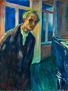 """""""The Night Wanderer,"""" a self-portrait by Munch in his later Edvard Munch/Artists Rights Society (ARS), New York; The Munch Museum, Oslo Looking at Edvard Munch, Beyond 'The Scream' - The New York Times Edvard Munch, Tableaux Vivants, Famous Artists, Paintings Famous, Famous Portrait Artists, Famous Self Portraits, Oil Paintings, Painting & Drawing, Painting Abstract"""