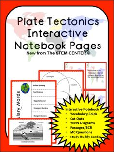 Plate Tectonics Interactive Notebook from Stem Center on TeachersNotebook.com -  (32 pages)  - The Plate Tectonics Interactive Notebook has 32 pages of hands on learning: Vocabulary Flips, Sketching, BCRs, Multiple Choice Questions, Venn Diagram, Study Buddy Cards, and more!