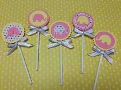 Polkadot Elephant Baby Girl Baby Shower Toppers by PeekaOwl, $10.00