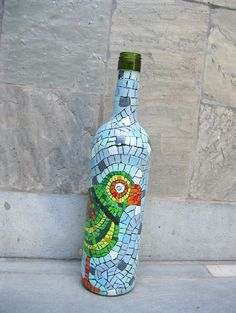 Parrot Hand Painted Bottle