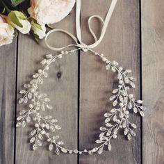 bridal hair vine wedding accesories crystal by JoannaReedBridal Bridal Hair Vine, Bridal Crown, Diy Hair Vine, Hair Jewelry, Wedding Jewelry, Jewellery, Barrettes, Bandeau, Wedding Hair Accessories