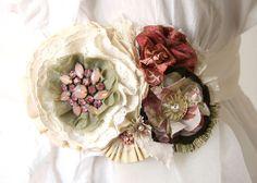 Свадебный пояс с цветами Свадьба Sash красные от rosyposydesigns