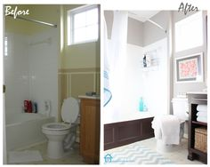 Bathroom Makeover on a budget with DIY - Bathtub cover - transformed vanity and more.