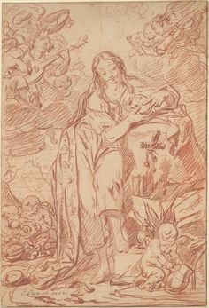"""""""The Penitent St. Mary Magdalen"""" Artist: Charles Parrocel (French, Paris 1688–1752 Paris) Date: 1742 Medium: Red chalk. Dimensions: 19 5/16 x 13 1/16 in. (49.1 x 33.2 cm) Classification: Drawings"""