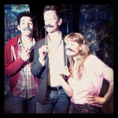 Adam Chanler-Berat, Neil Patrick Harris, and Celia Keenan-Bolger get their Black Stache on!  (Peter and the Starcatcher <3)
