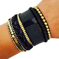 Fitbit Bracelet to Accessorize the Fitbit Charge or Charge HR - The ROSIE Black and Gold Beaded, Braided Layered Snap Bracelet by Funktional Wearables.