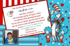 Cat in the Hat - Dr. Seuss -Thing 1 and Thing 2 Birthday Invitation