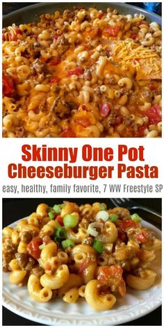 Skinny One-Pot Cheeseburger Pasta Skillet is a comfort food favorite made with lean ground beef chicken broth tomatoes and macaroni cheese - only 340 calories 7 Weight Watchers Freestyle SmartPoints simplenourishedliving ww weightwatchers wwfam Ww Recipes, Easy Healthy Recipes, Easy Meals, Dinner Recipes, Chicken Recipes, Juice Recipes, Healthy Meals, Baking Recipes, Salad Recipes