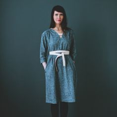 Martha McQuade Chambray Drop Shoulder Dress... love the leather detail and belt!