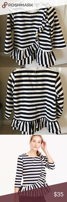 NWOT JCrew Asymmetrical striped top. Never worn!! Just bought but doesn't fit. Never worn so in great shape!! Originally $78 and instores now for $59.99 so great deal! J. Crew Tops