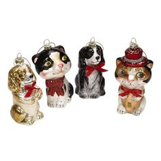 Funny Cat and Dog Glass Hanging Christmas Ornaments -- You can get additional details at the image link.