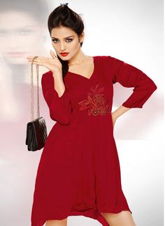 Resplendent Maroon Embroidered Georgette Kurti