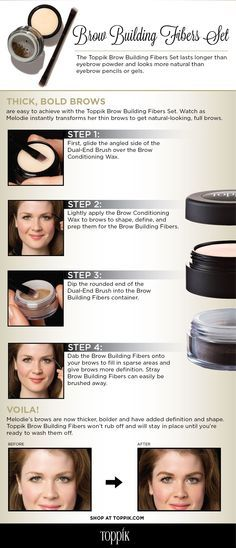 Learn how to shape eyebrows like an expert with this infographic featuring Toppik's newest product, Brow Building Fibers Set. #ToppikBrows