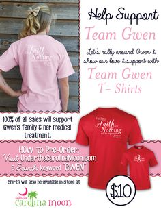 #UndertheCarolinaMoon is thrilled to partner with Team Gwen as she fights against cancer. We pray each day for complete healing for her. 100% of t-shirt purchases will go to Gwen's family and their medical expense.