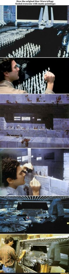 The background paintings of the original trilogy - Movie TV - Categories - Star Wars Jokes, Star Wars Facts, Flick Flack, Detailed Paintings, Star Wars Pictures, Original Trilogy, Love Stars, The Force Is Strong, Cool Stuff