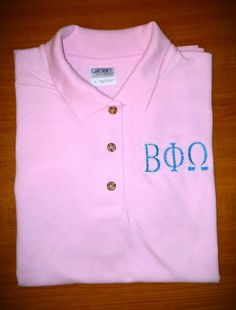 Embroidered Polo Shirt With Greek Letters by SewRegal on Etsy, $20.00 Embroidered Polo Shirts, Greek, Letters, Trending Outfits, Etsy, Tops, Women, Fashion, Moda