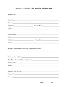 Printable Sample Wedding Photography Contract Template Form Packages