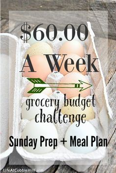 $60.00 A Week Grocery Budget Challenge Weekly Meal Plan October 26 2015 at Life At Cobble Hill Farm