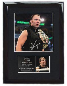 Dean Ambrose FRAMED Signed Mounted Photo Display