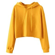 Pullover Cropped Sporty Hoodie ❤ liked on Polyvore featuring tops, hoodies, yellow hooded sweatshirt, mustard yellow top, mustard yellow hoodie, yellow pullover hoodie and yellow crop top