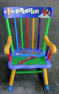 30 Amazing Picture of Kids Painted Furniture . Kids Painted Furniture Hand Painted Kids Wooden Rocking Chair New Kids Furniture Painted Kids Chairs, Painted Rocking Chairs, Whimsical Painted Furniture, Hand Painted Furniture, Funky Furniture, Refinished Furniture, Furniture Ideas, Street Furniture, Baby Furniture