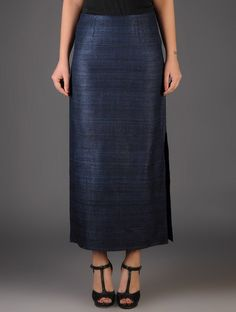 Buy vy Navy Ghicha Silk Side Slit Skirt Cotton Lining Online at Jaypore.com Slit Skirt, Midi Skirt, High Waisted Skirt, Saree Look, Western Wear, Blouse Designs, Silk, Clothes For Women, My Style