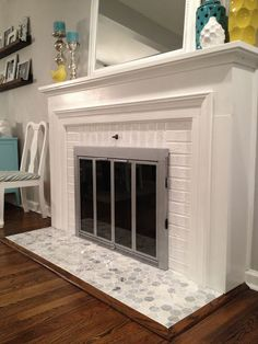 A DIY stenciled fireplace hearth floor using the Augusta Tile ...