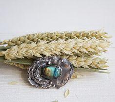 Labradorite brooch / flower brooch / silver flower brooch /