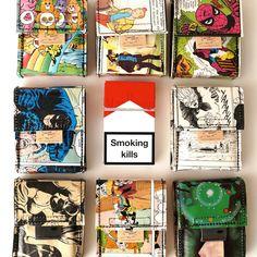 New haverst comic upcycling cigarette cases unique pieces