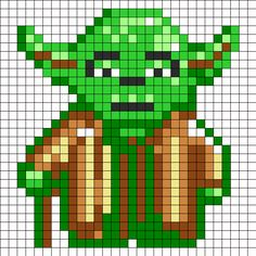 Yoda Star Wars / Perler Beads - Hama perlen - Bügelperlen - only has picture. Fuse Bead Patterns, Perler Patterns, Beading Patterns, Loom Patterns, Bracelet Patterns, Knitting Patterns, Star Wars Quilt, Beaded Cross Stitch, Cross Stitch Embroidery