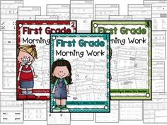 First Grade Morning Work {The Bundle} | This first grade morning work bundle is the perfect solution for kindergarten, 1st, and 2nd grade routines. The bundle includes 180 pages of worksheets focused on reading, math, and writing. Grab this bundle to provide your students work that increases in difficulty as it reviews the important skills the students are learning.