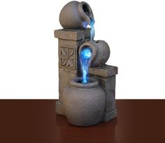 Color Changing LED Fountain Rustic Vase Tabletop Waterfall Desk Flowing Water…