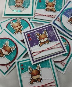Reindeer Gift Cards  #mamaelephant #LLLC #copicmarkers #lilinkerdesigns Jenniferds.blogspot.com.au.