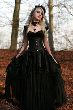 Victorian Goth, Neo-Victorian dress.                                                                                                                                                                                 More